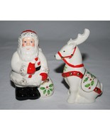 Lenox China Holiday Santa & Reindeer Salt & Pepper Shaker Set -Never Used- - $18.00