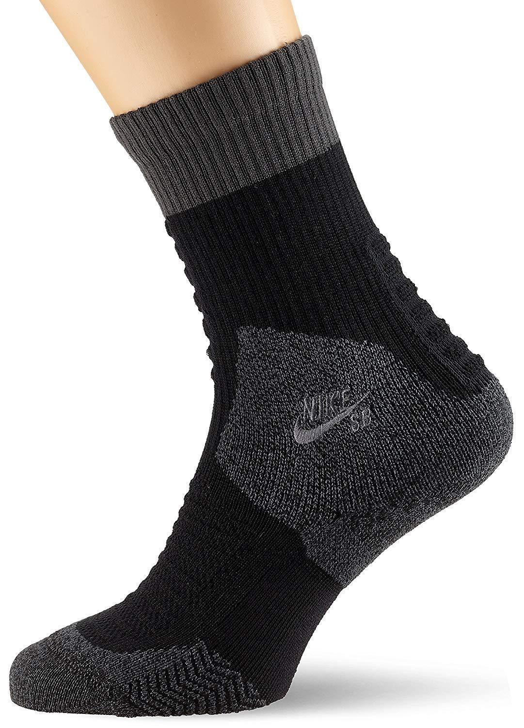 Nike Men's SB Elite Crew Socks Medium (shoe size 6-8) (Grey/Black)