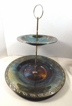 VTG Wm Rogers & Son by Oneida Spring Flower 2 Tiered Silver plate Servin... - $29.70