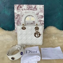 100% AUTH Christian Dior White Lady Dior Cannage Lambskin Shoulder Tote Bag GHW