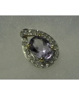 10k Gold Amethyst and Diamond Teardrop Pendant ... - $54.99