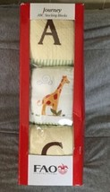 FAO Schwarz Toy Box ABC Soft Cloth Stacking Blocks Embroidered Animal Pa... - $19.79