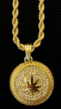 Hip Hop 14K Gold Plated Iced CZ Oval Marijuana Leaf Pendant w/ Rope Neck... - $9.49