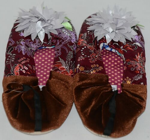 Snoozies Brand Coventry Collection Burgundy Brown Womens House Slippers Size XL