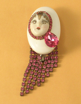 Artisan Made Brooch Pink Rhinestones and White Ceramic - $18.00