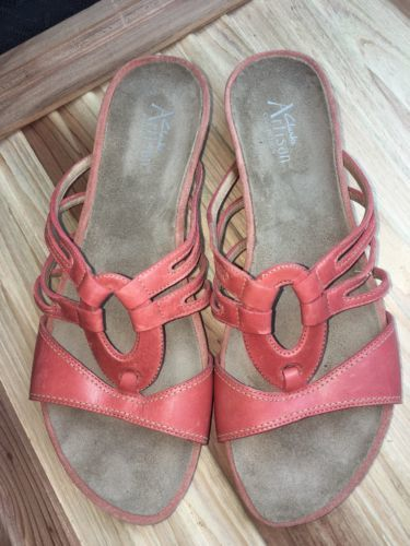 6bdf2008422 Clarks Artisan Womens Size 9 M Orange Leather Slides Slip Sandals