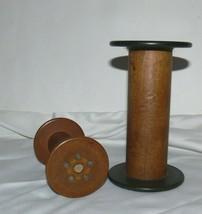 Lot of 2 Vintage Wood Thread Spools Bobbin Silk Textile Farmhouse Decor - $29.99