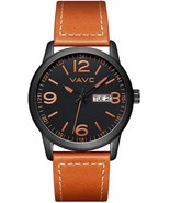 Mens Fashion Minimalist Casual Brown Leather Band Analog Quartz Wrist Watch - $57.91