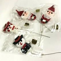 Vintage Felt Christmas Ornaments Lot 4 Japan NOS Wire Stems Santa Snowman - $16.82