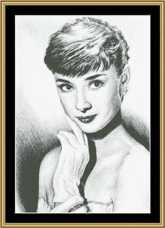 Hollywood Greats Audrey Hepburn cross stitch chart Mystic Stitch