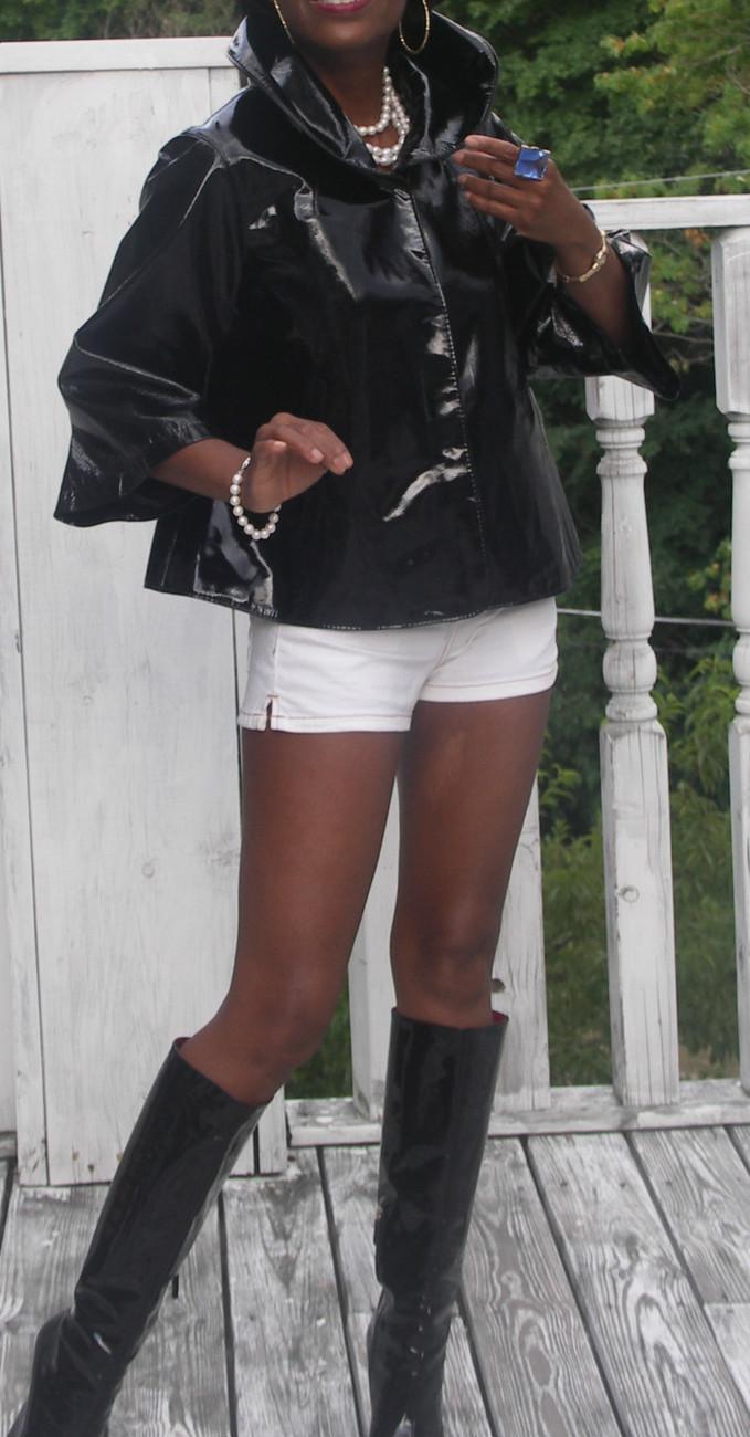 Mint Swing designer Elie Tahari Black Patent leather Cape jacket Coat S 2-10 - $593.99