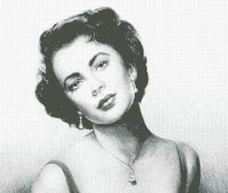Hollywood Greats Elizabeth Taylor cross stitch chart Mystic Stitch