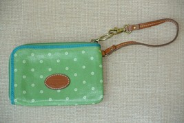 FOSSIL Womens Green Print Wristlet Wallet Very Lightly Used - $12.86