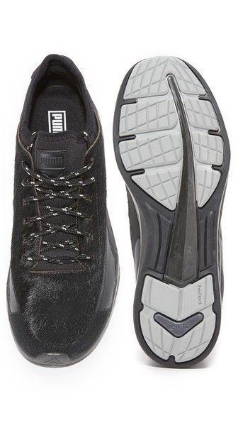 NEW Mens Puma Select Ignite Sock Camping Black Leather & Pony Hair Sneaker 8