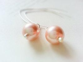 Precious Pink Glass Pearl Earrings On Matte Silver Earwires - $22.00
