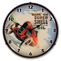 Shell Oil Vintage Race Car Lighted Wall Clock - $129.95