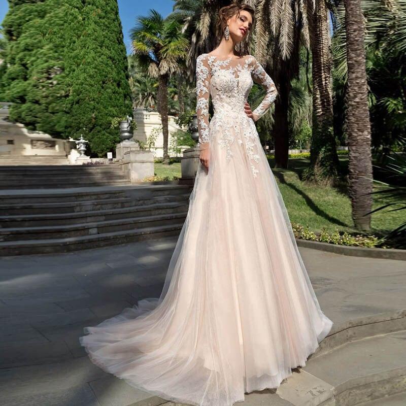Long sleeves tulle wedding dresses a line lace appliques bridal wedding gowns lace up vestido de