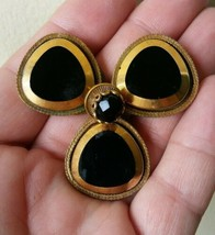 Gorgeous Big Vintage Original by Robert RARE Brooch 3 Leaf Clover w Blac... - $65.55