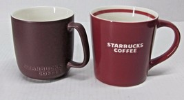 LOT of (2) STARBUCKS 16 oz BROWN & RED NEW BONE CHINA ETCHED COFFEE CUPS... - $43.99