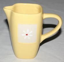 Pfaltzgraff Yellow 8 Ounces Creamer Dazee Sun Tall Square White Flower  - $8.86