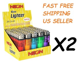 100 Ct Full Size Disposable Cigarette Lighters Assorted Color Wholesale ... - $22.26