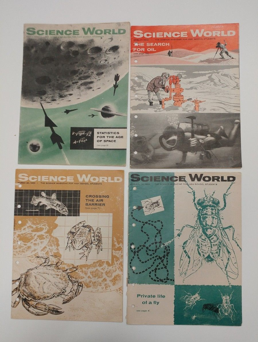 Lot of 4 Science World Magazines 1/14/58 3/20/58 4/17/58 5/1/58 [oil fly space] - $19.79