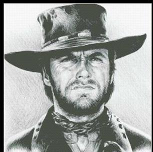 Hollywood Greats Clint Eastwood The Stranger cross stitch chart Mystic Stitch