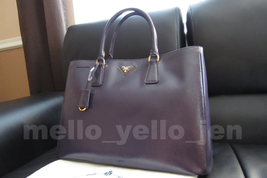 NEW Prada Saffiano Vernice Classic Lux Garderner's Tote Purple Plum Leat... - $1,399.00