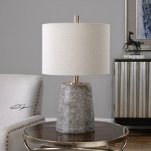 "DURON 23"" TEXTURED CERAMIC TABLE LAMP PLATED BRUSHED NICKEL METAL UTTERMOST - $165.00"