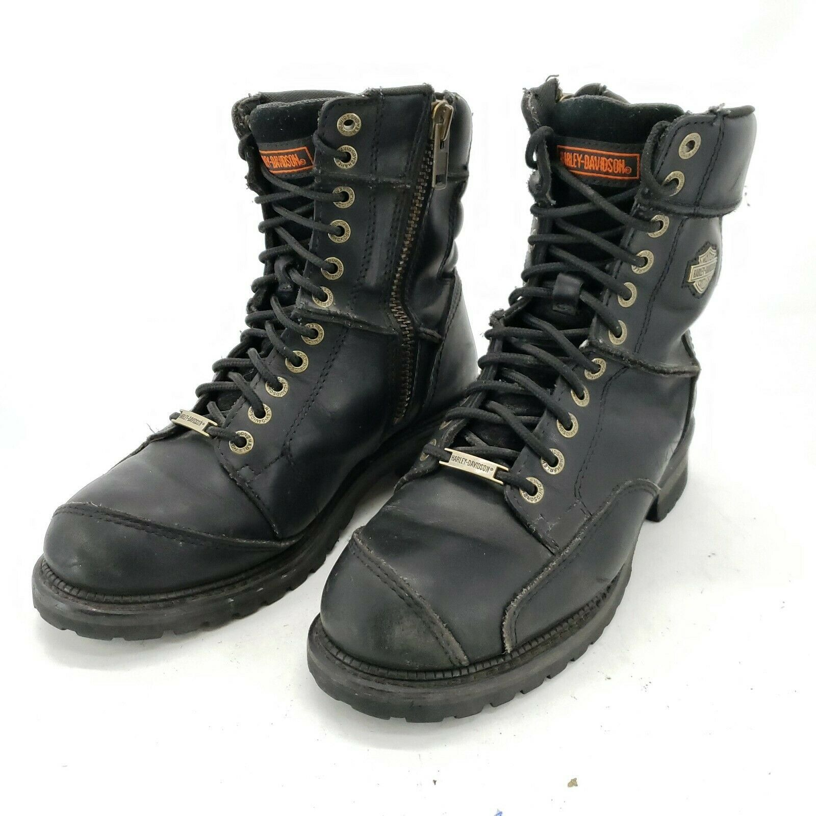 Primary image for Harley Davidson Casper 94043 Black Motorcycle Side Zip Boots Men's Size 9.5""