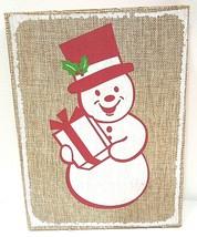 HALLMARK - RUSTIC - VINTAGE - SNOWMAN - CHRISTMAS - BURLAP - WOOD - SIGN... - $11.69