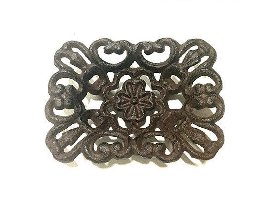 Cast Iron Clover Soap Dish Rustic Brown