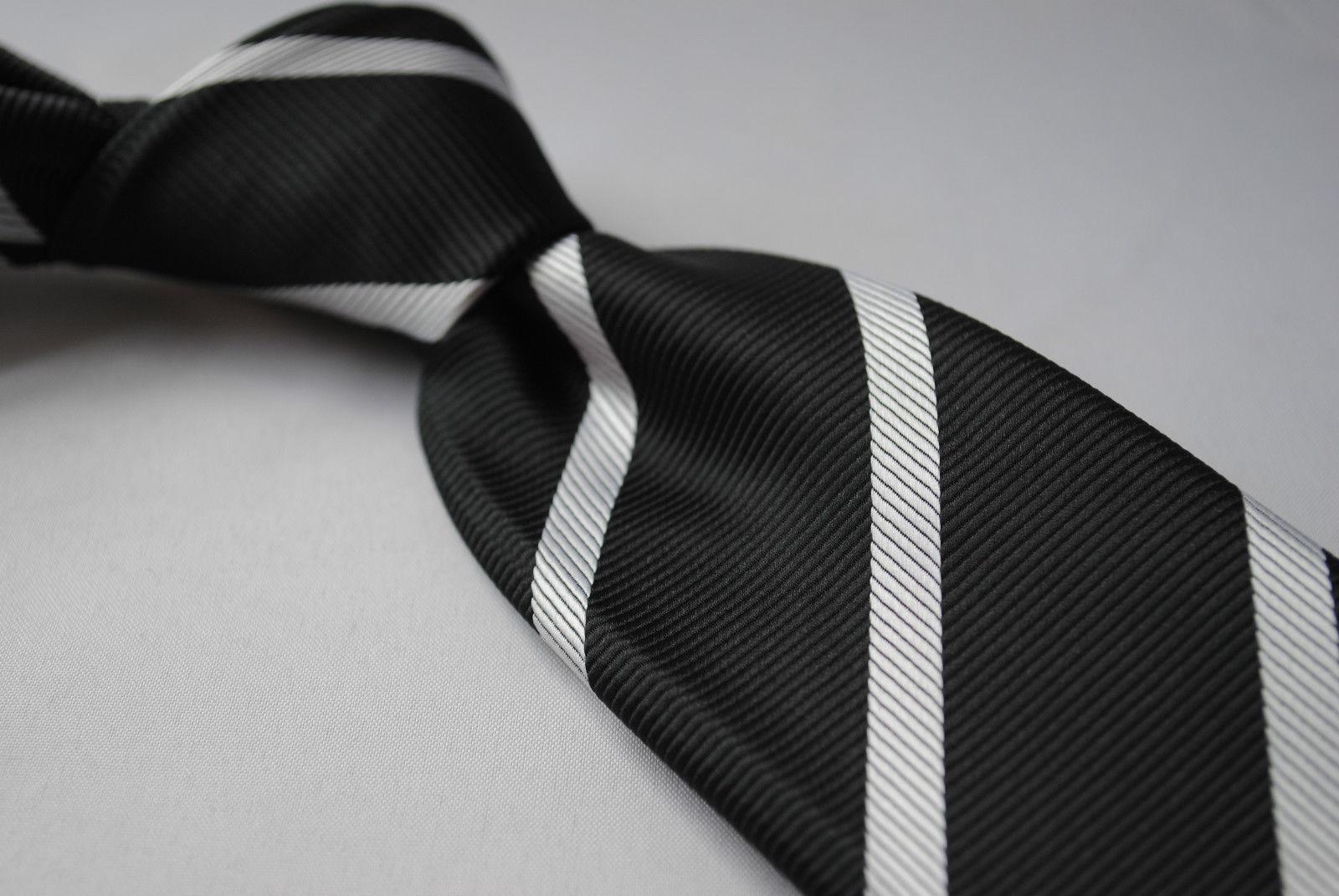 Frederick Thomas schwarz und weiß Verein gestreifte Herren Krawatte ft753
