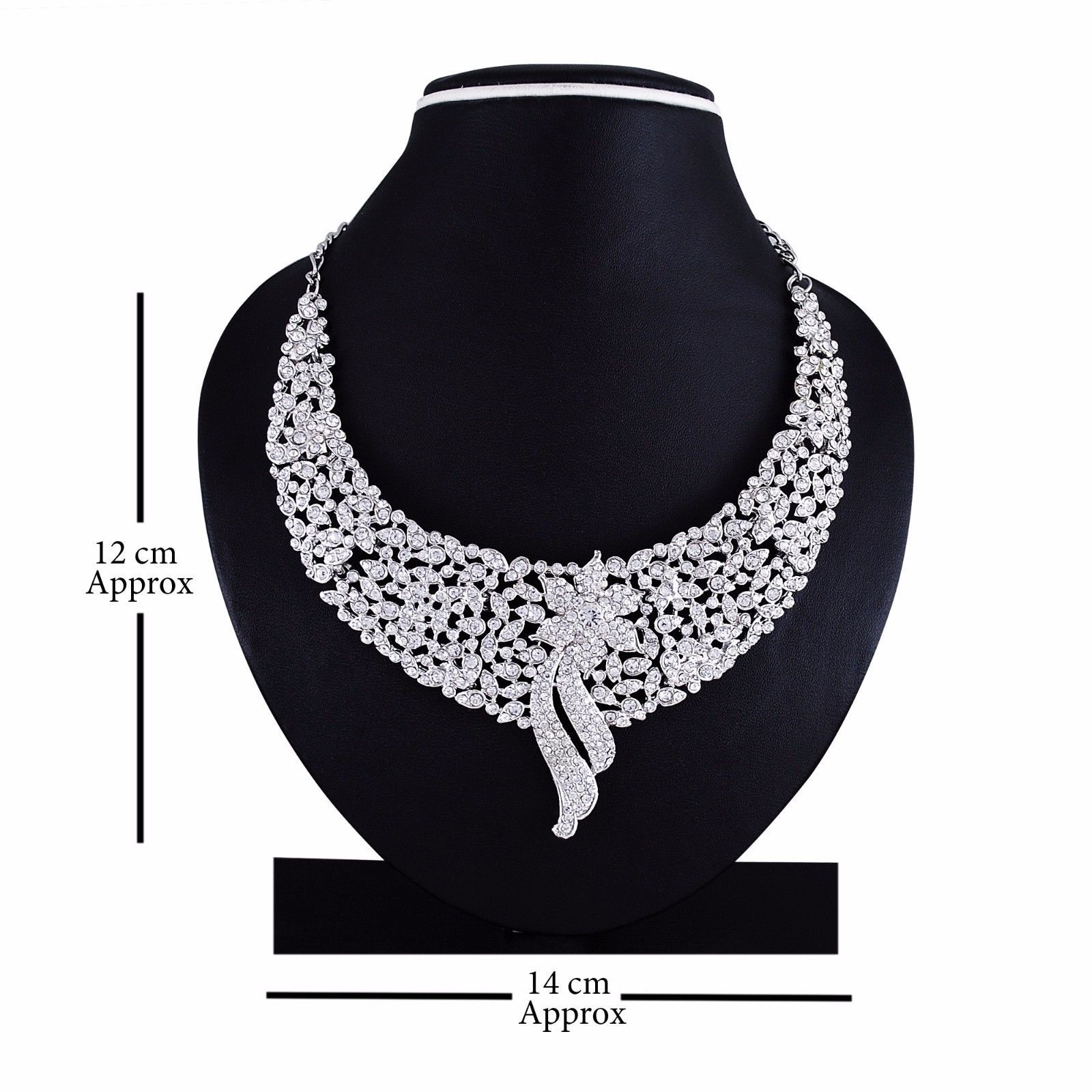 Indian Bollywood Style Fashion Wedding Silver Plated Necklace Party Jewelry Set image 2