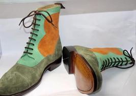 Handmade Men's Multi Colors Suede Two Tone High Ankle Lace Up Boots image 2