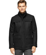 Calvin Klein Mens Coat 4 Pocket Full Zip Wool Blend Peacoat Black Size S... - $76.98