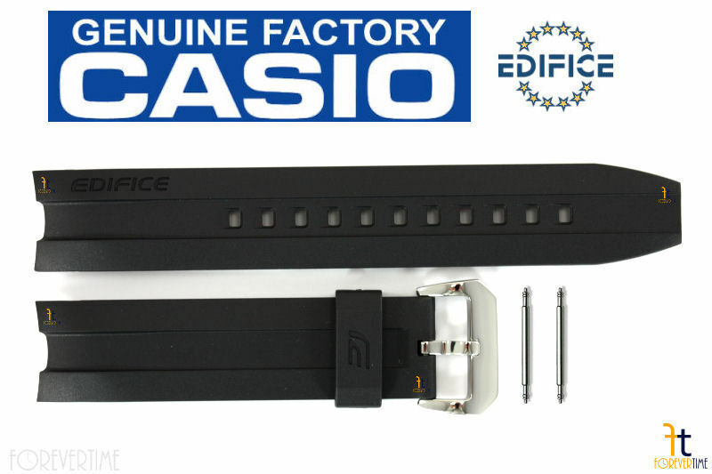 Primary image for CASIO EMA-100-1AV Edifice Original 20mm Black Rubber Watch Band Strap w/ Pins