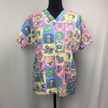 HQ Scrub Top Rainbow Floral Butterflies, Frogs, Dragonflies, Etc. Size S... - $11.00