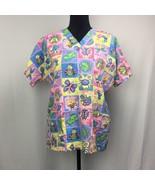 HQ Scrub Top Rainbow Floral Butterflies, Frogs, Dragonflies, Etc. Size S... - $11.00
