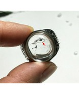 Natural Moving bubble Enhydro quartz crystal Finger Ring Healing Reiki L... - $114.79