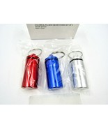 Set of 3 Colorful Aluminum Vial Pill Box Case Bottle with Keychain, 0010... - $10.84