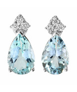 8.08 ctw Aquamarine and diamond Earrings in 14k gold - $875.00