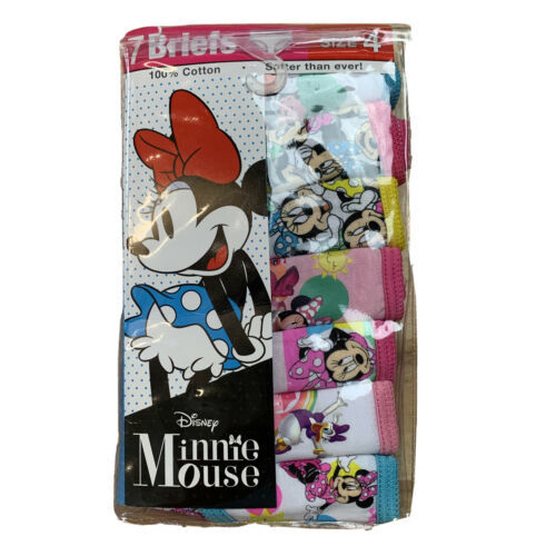 Disney Girl's 7-Pack Minnie Mouse Cotton Panties AW7 Multi Size 4 NWT - $14.84