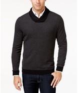 Tasso Elba Men's Big and Tall Shawl-Collar Sweater, Black Combo, Size LT... - $34.64