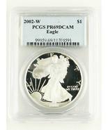 2002 con Moneda PR69DCAM Prueba American Eagle 1oz de Plata Dólar Gradua... - $88.97