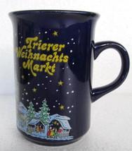Cobalt Blue Trierer Weihnachtsmarket  Christmas Ceramic Slender Coffee M... - $19.99