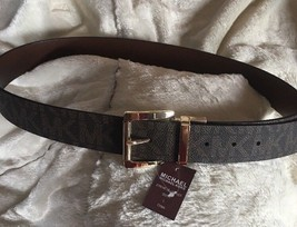 MICHAEL KORS BELT REVERSIBLE BROWN/CHOCLATE MK LOGO GOLD BUCKLE MSRP $48... - $39.99