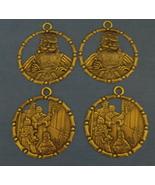 Set of 4 New Bronze Metal Christmas Ornaments 2 Santa 2 Family - $5.95