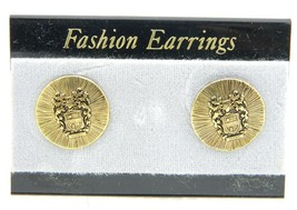 VTG Style Gold Tone Bozzon Shield of Arms Post Earrings B - $9.90