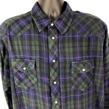 Vintage Wrangler Pearl Snap Plaid Flannel Western Shirt Sz 2X Big Man Ro... - $30.60